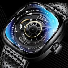 GLENAW Top Brand Luxury Men's Watch 30M Waterproof Date Clock Square Men's Mechanical Clock Military