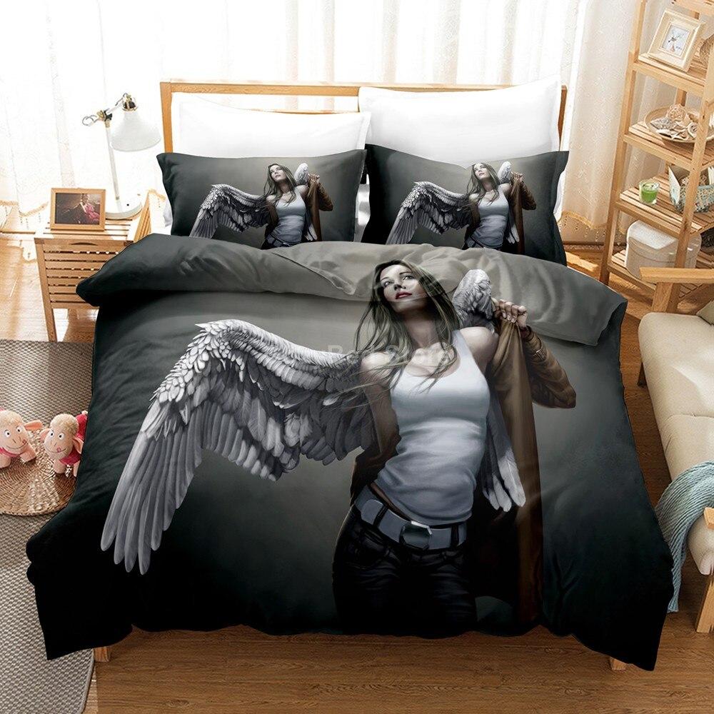 طقم سرير الملاك الجمال أنيمي الخيال ثلاثية الأبعاد حاف طقم أغطية المعزي أغطية سرير التوأم الملكة الملك حجم واحد الموضة الفاخرة هدية