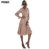 pgsd autumn fashion casual women frenulum ruffle floral printing long sleeves orange green office lady dress female