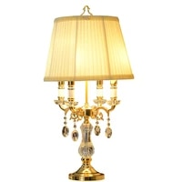 modern clear crystal table lamp bedroom bedside desk lamp fabric shade deco d40cm h70cm classic modern decoration led table lamp