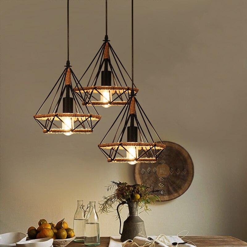 Креативный ретро-светильник с железной веревкой, декор для бара, кафе, Потолочный подвесной светильник, лампа, потолочный светильник, лампа ...