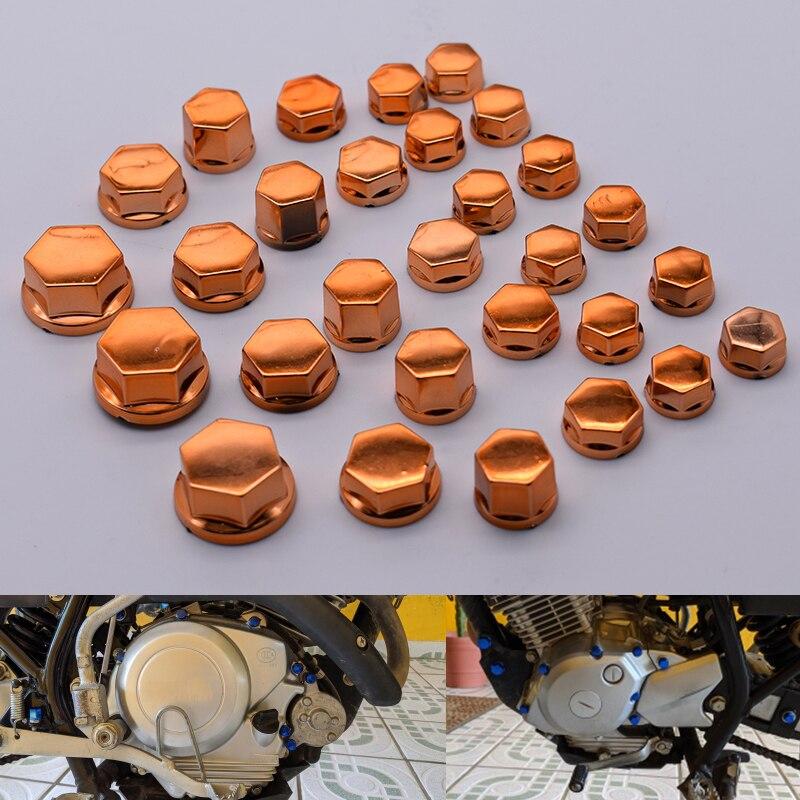 30 unids/set de tornillo tapa tuerca perno decoración cromo chapado de plástico para KTM 390, 200, 125, 690 uke RC125 RC200 RC390
