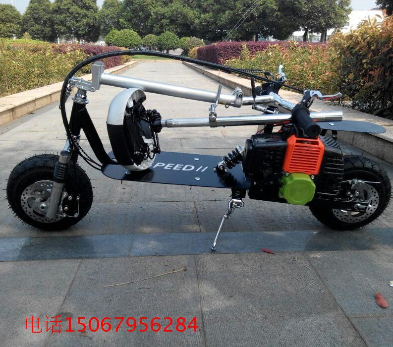 2 stroke folding gasoline scooter two shock and pedal mini car fuel moped motorcycle second wheel instead of walking enlarge