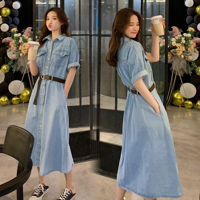 Vestido vaquero de verano 2020 nuevo vestido largo azul 3XL ropa de talla grande vestidos de mujer
