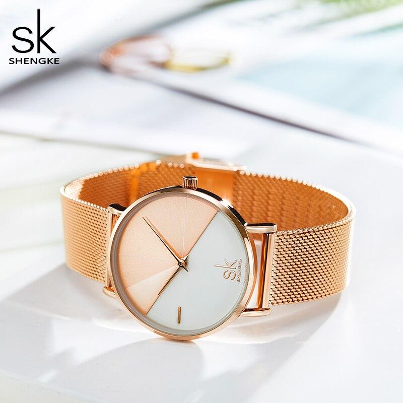Shengke SK Women Bracelet Watch Set Leather Wrist Watch Vintage Lady Watch Irregular Clock Mujer Bayan Kol Saati Montre Feminino enlarge