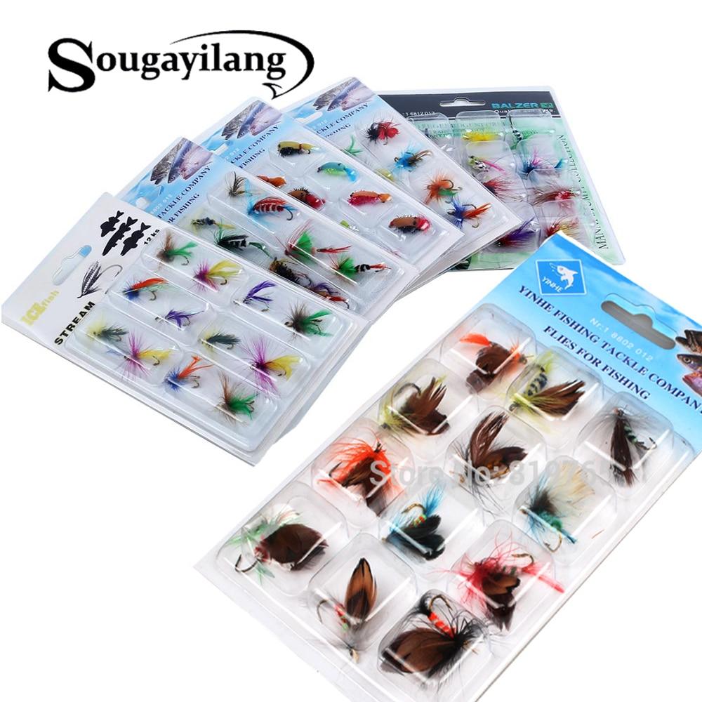 Sougayilang anzuelos de pesca con mosca 12 unids/set mariposa estilo moscas salmón trucha un solo gancho mosca seca señuelo de pesca aparejos de pesca