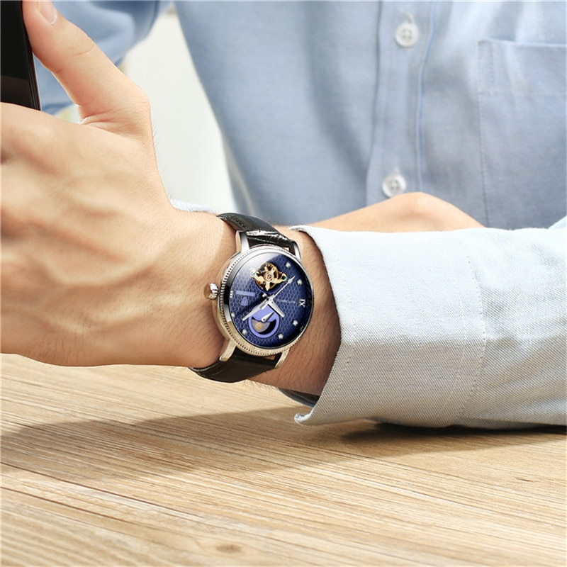TEVISE 2020 Business Men Automatic Mechanical Watch Time Moon Phase Display Fashion clock Casual Lum