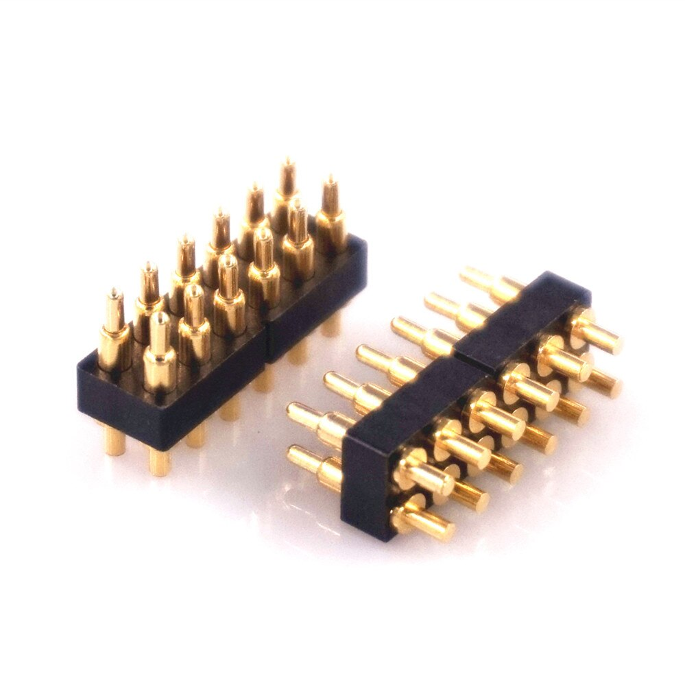 2 uds. Conector pogo pin con resorte 2x6 12 Pin paso 2,54mm a través del agujero PCB Vertical 7,0mm Altura resorte Pin macho