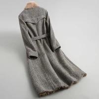 2020 real fur coat female natural lamb fur liner tweed wool coats belt long winter jacket women mink collar 18622 yq1989