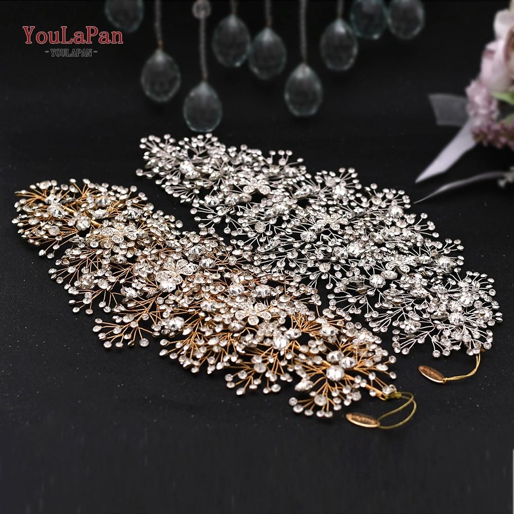Aksesorë flokësh nusë të artë magjepsës për bizhuteri kristali - Aksesorë dasme - Foto 2