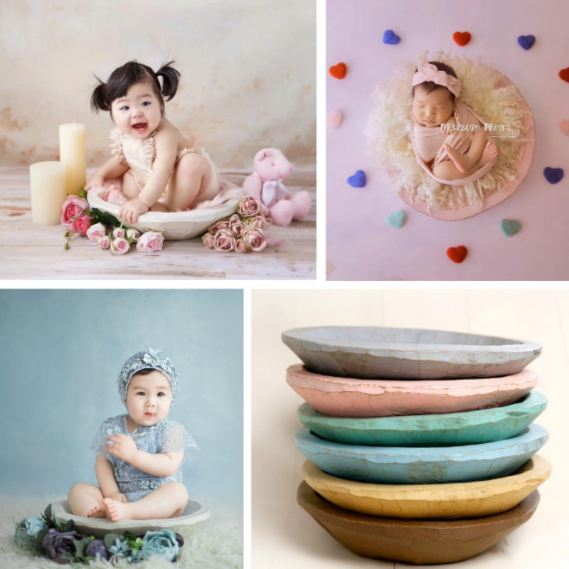 Newborn Photography Props Wooden Posing Container Baby Photo Props Infantil Photo Shoot Accessories Baby Colorful Wood Basin