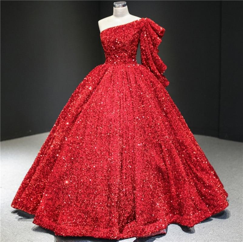 One shoulder glitter formal dress sequins wedding gown ball gown evening dress