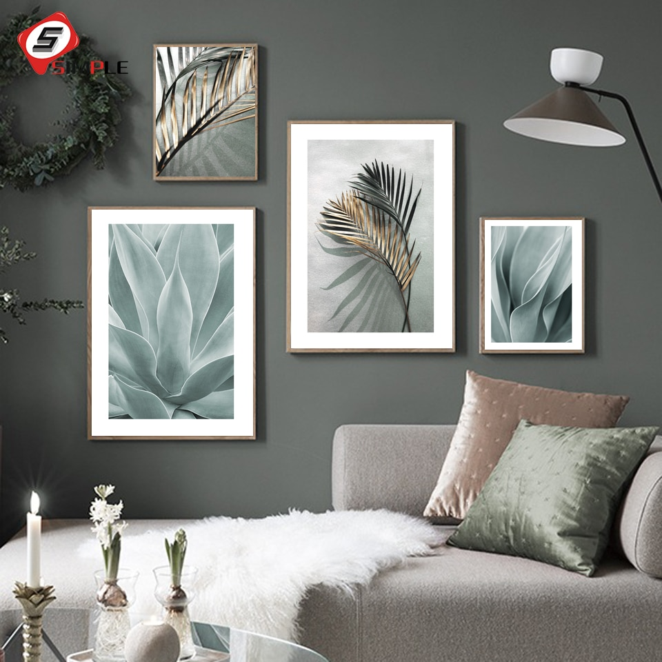 Carteles de hojas doradas impresiones de póster de Palma arte de pared hoja de Agave pintura de lienzo escandinavo cuadros de pared modernos para sala de estar