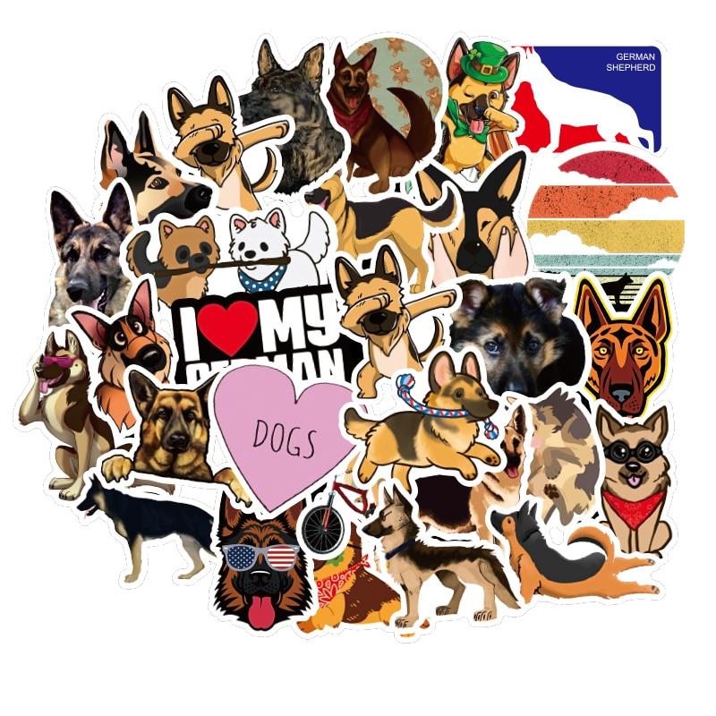 50Pcs German Shepherd dog Stickers Thing Cool Waterproof Stickers For Laptop Skateboard Motorcycle car Pack Decal kids Stickers