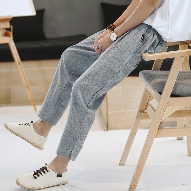 Trendy Brand Linen Pants Men's Pants Large Size Loose Cropped Pants Men's Drawstring Tapered Casual Pants Cotton Linen Fabric