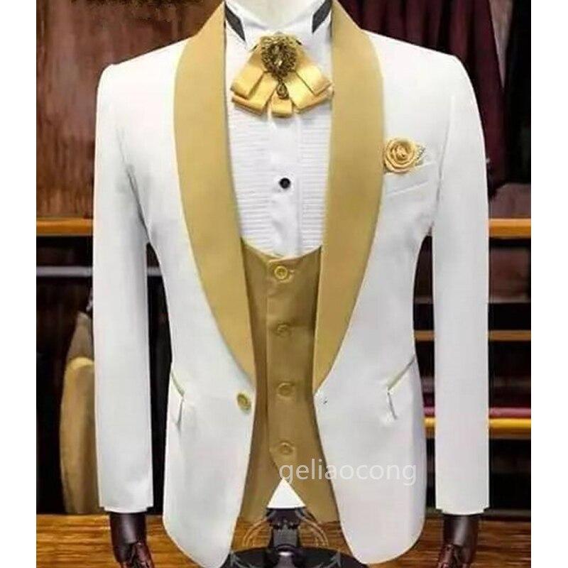 بدلة رجالية مصنوعة حسب الطلب 3 قطع بدلات بيضاء للرجال مقاس ضيق بدل زفاف بدلة من الصوف التويد للزفاف (معطف + بنطلون + سترة)