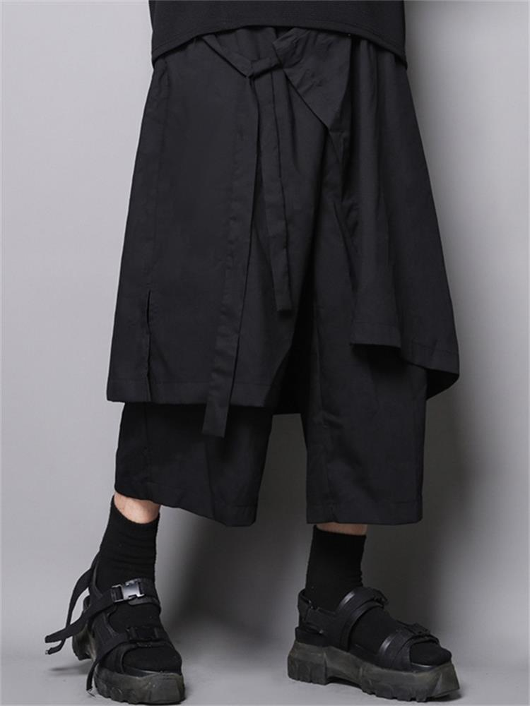 الرجال سلسلة اليابانية الجديدة عميق أسود ياماموتو الرياح حزام فضفاض كبير غير رسمية تسع نقاط السراويل كولوتس