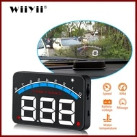geyiren auto electronic overspeed warning system water temperature alarm car hud obd2 rpm meter m6 head up display