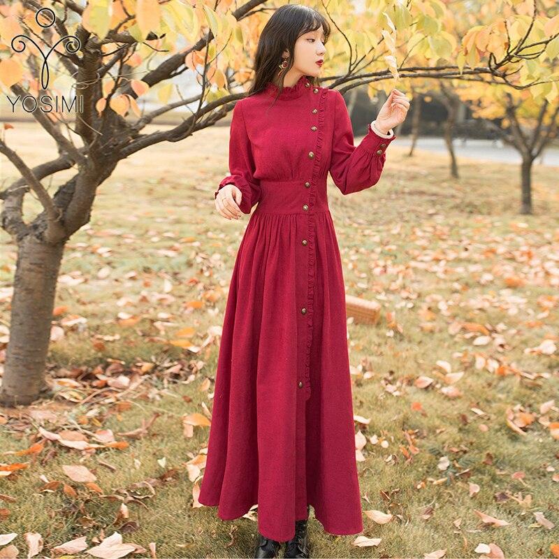 YOSIMI 2020 Spring Maxi Elegant Cotton Corduroy Vintage Long Women Dress Red Evening Party Women Dress Full Sleeve Ankle-Length