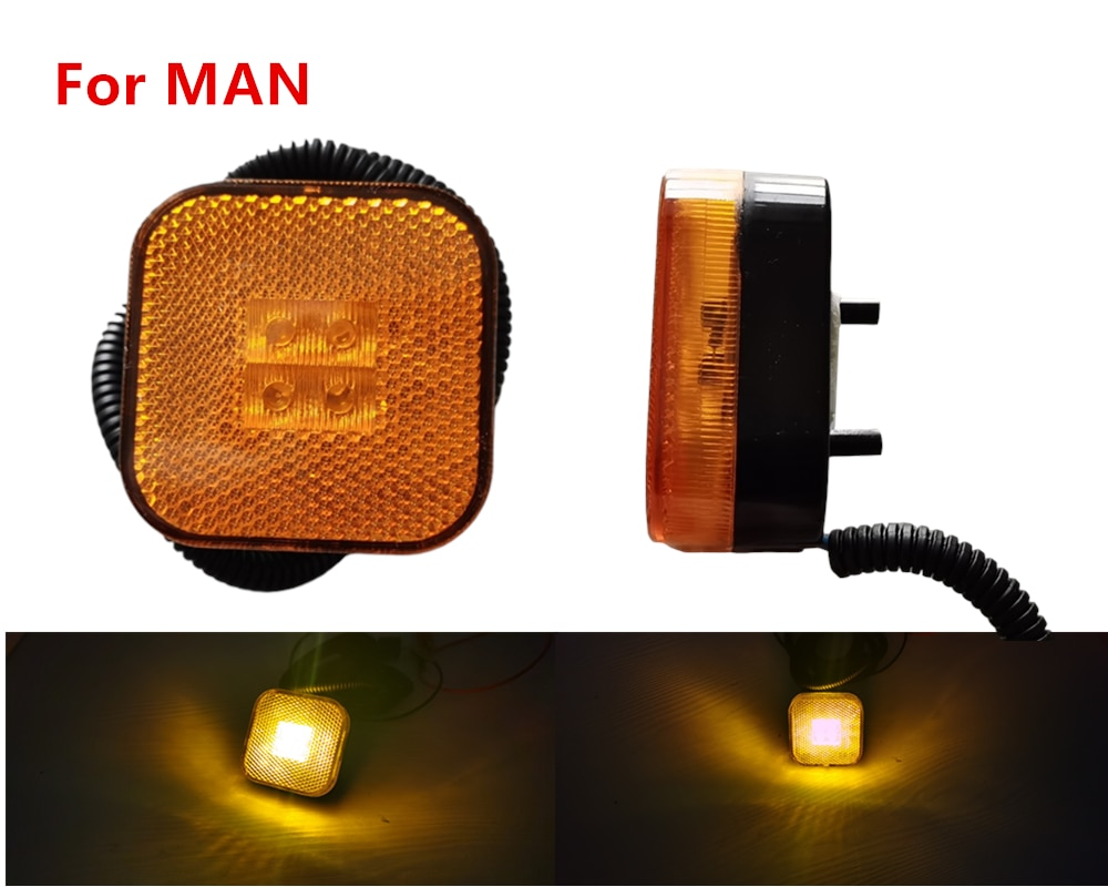 1x 2,4 zoll 24V LED seite marker licht für MANN Lkw TGS/TGM Vorderrad Schneidet Kotflügel Lampen OEM81252606101 81252606096 81252606097
