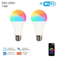 WiFi Smart LED Dimmable Lamp 14W RGBCW E27 Smart Life Tuya App 220-240V Remote Control Work With Alexa Echo Google Home