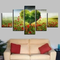 romantic green heart tree 5 piece hd wall art print hd print poster paintings oil painting living room home decor pictures
