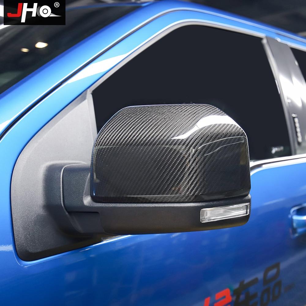JHO fibra de carbono para coche espejo retrovisor lateral cubierta embellecedora para Ford F150 RAPTOR 2017-2019 2018 2020 accesorios para camiones