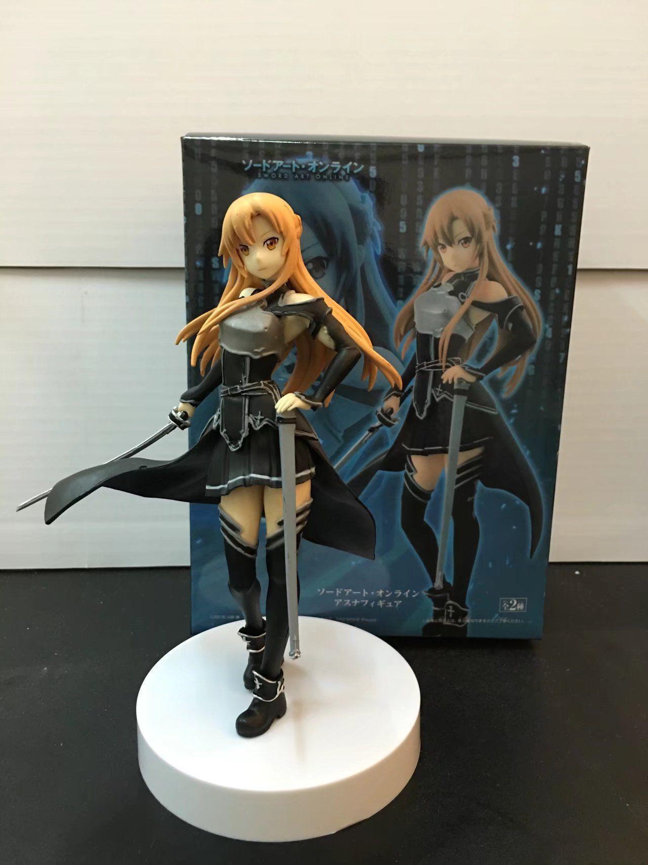 Аниме меч искусство онлайн Yuuki Asuna черная одежда ПВХ фигурка модель игрушка Новинка без коробки