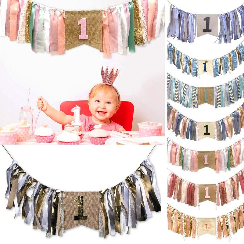 Primer Cumpleaños niño fiesta suministro una pancarta decoración cinta tirar banderas para silla de bebé decoraciones Diy letras corona cumpleaños Banner