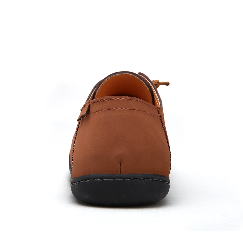 Men's shoes casual shoes spring low top round top cowhide flat top leather shoes leather casual flat bottom handmade single shoe