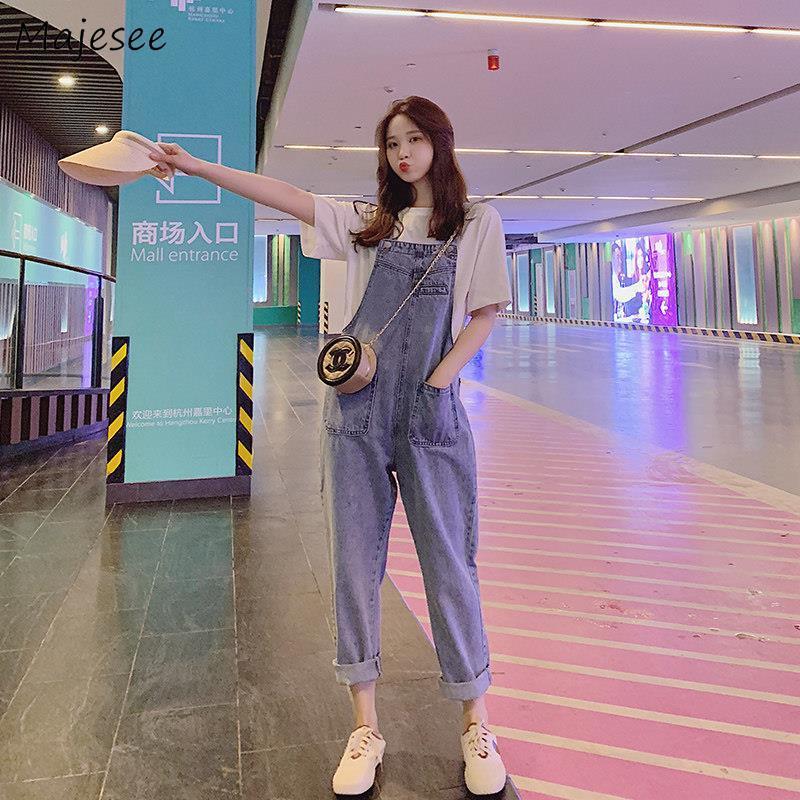 Monos vaqueros a la moda para mujer, pantalones a la altura de los tobillos holgados sencillos de bolsillo para diario de estilo coreano fáciles de combinar de alta calidad, ropa Vintage