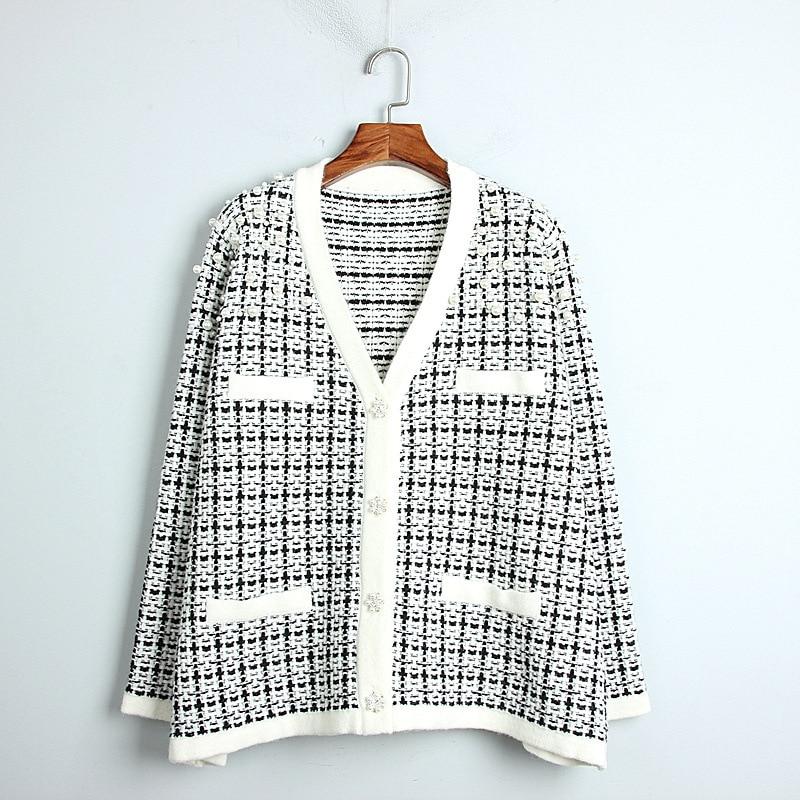 1101 2020 осенний свитер Бесплатная доставка с v-вырезом и длинным рукавом, Кинт бусины белого цвета, модная женская одежда, размер S m L dl