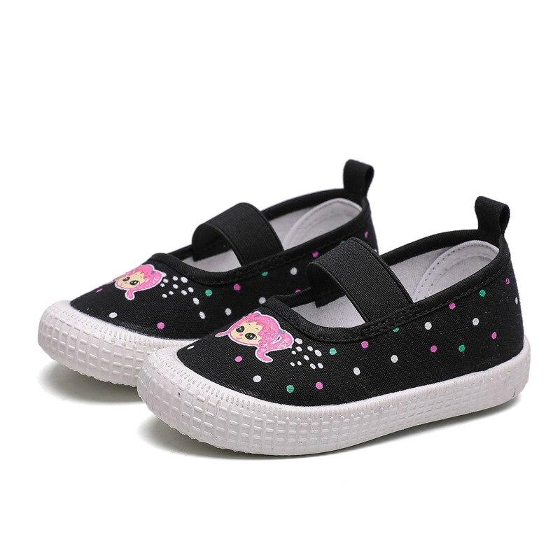 Zapatos de moda para chicas, bonitos y bonitos Zapatos Infantiles de lona para niñas pequeñas, tallas 21-30, zapatos informales para niños con dibujos animados
