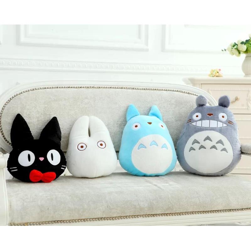 Kawaii totoro pelúcia travesseiro almofada bonito macio brinquedos de pelúcia gato boneca animal anime dos desenhos animados derivados para presentes da namorada