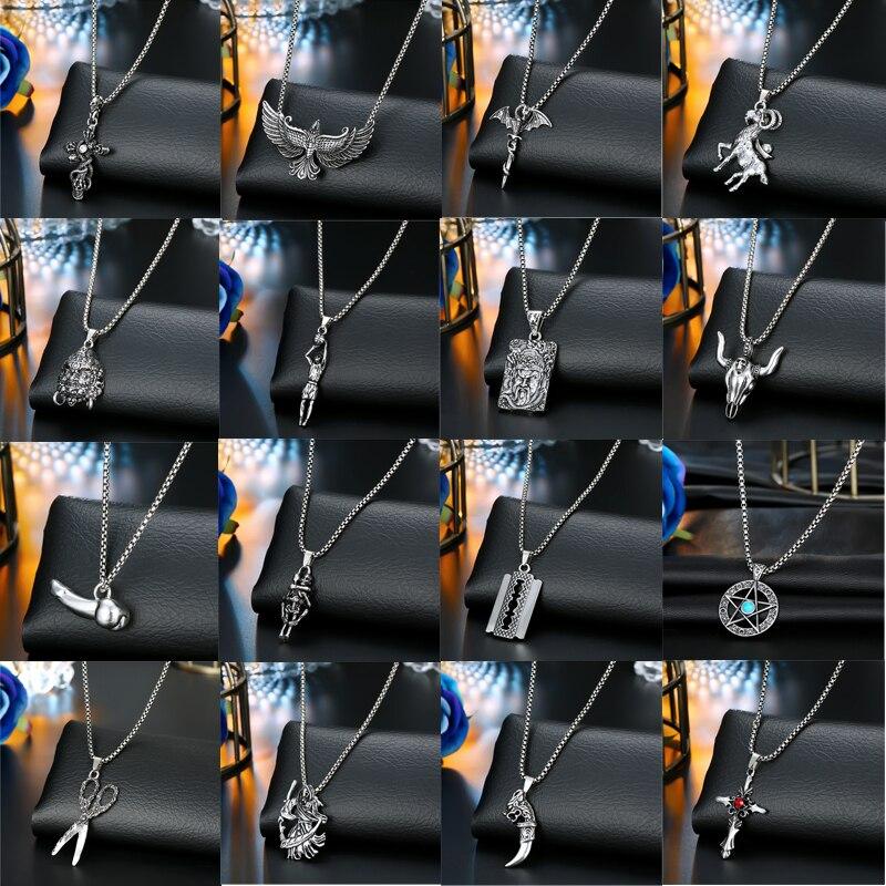 1 pieza Punk Vintage Cruz esqueleto hoja estrella Collar para Mujeres Hombres espada gótica cabra tijeras órgano colgante collar joyería N70