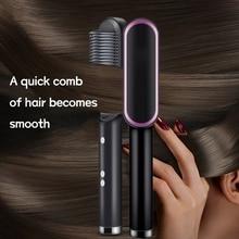 2 in 1 Hair Brush Ceramic Electric Hair Straightener Curler Comb Professional Ionic Anti-Scald Hair