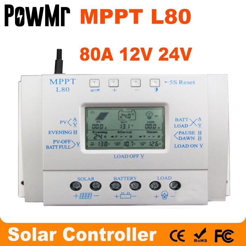 MPPT 80A شاحن بالطاقة الشمسية تحكم USB 1.5A 5 فولت 12 فولت 24 فولت LCD لوحة طاقة شمسية منظم مع تحميل الموقت والتحكم في الضوء للإضاءة