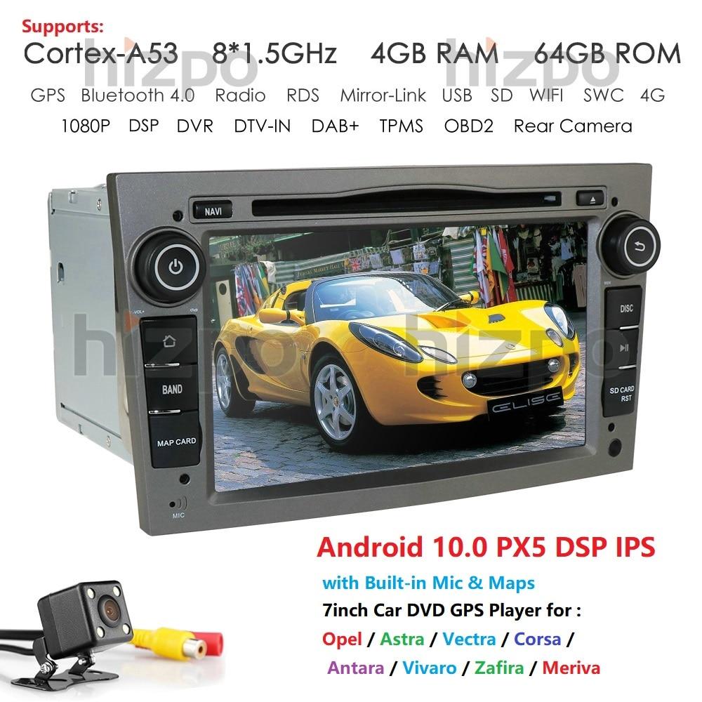 Gps do carro do ruído do ips dsp 4 gb android10.0 2 para o leitor de dvd px5 de opel astra h g j