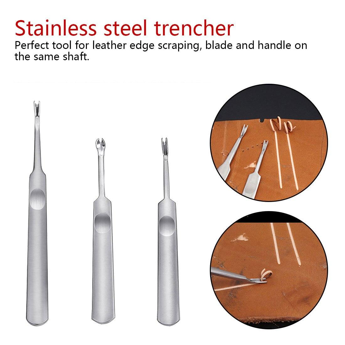 3 uds. Cuchillo de cuero fino «U V» herramienta de corte DIY dispositivo para abrir zanjas herramientas de artesanía de cuero