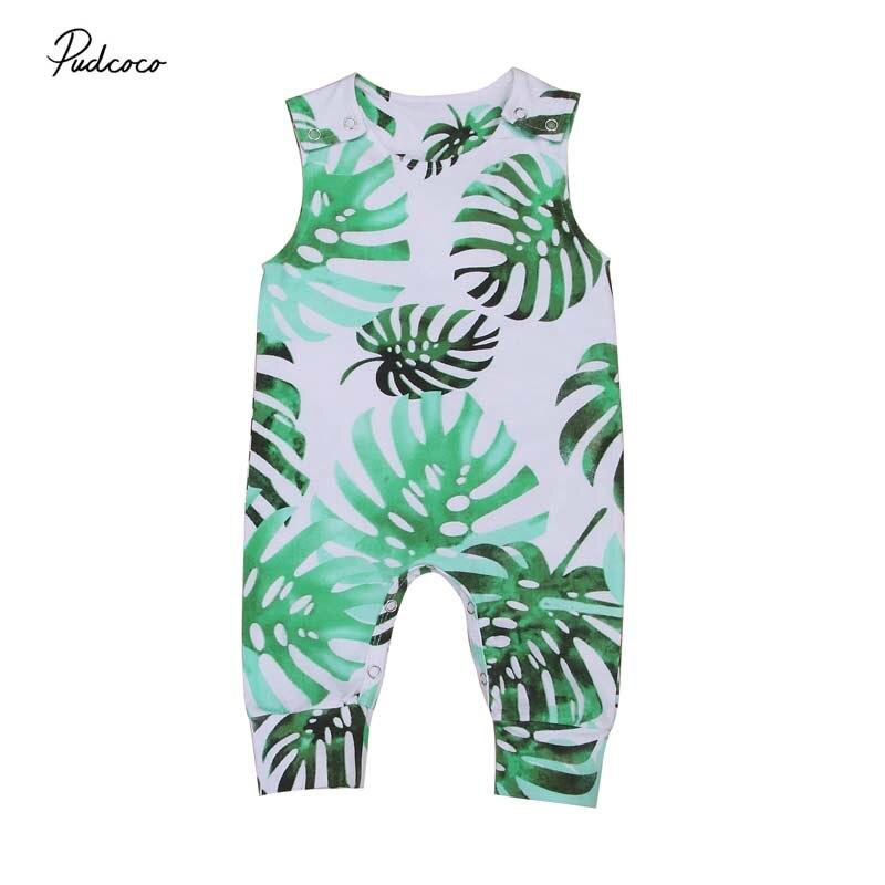 2019 marke Kleinkind Infant Baby Mädchen Junge Banana Blätter Strampler Overall Outfit Weiß Kleidung Ärmellose Sommer Sunsuit