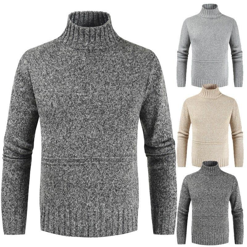 Новинка 2020, мужской свитер, пуловер, Мужская водолазка, однотонный Повседневный свитер, мужские облегающие брендовые вязаные пуловеры