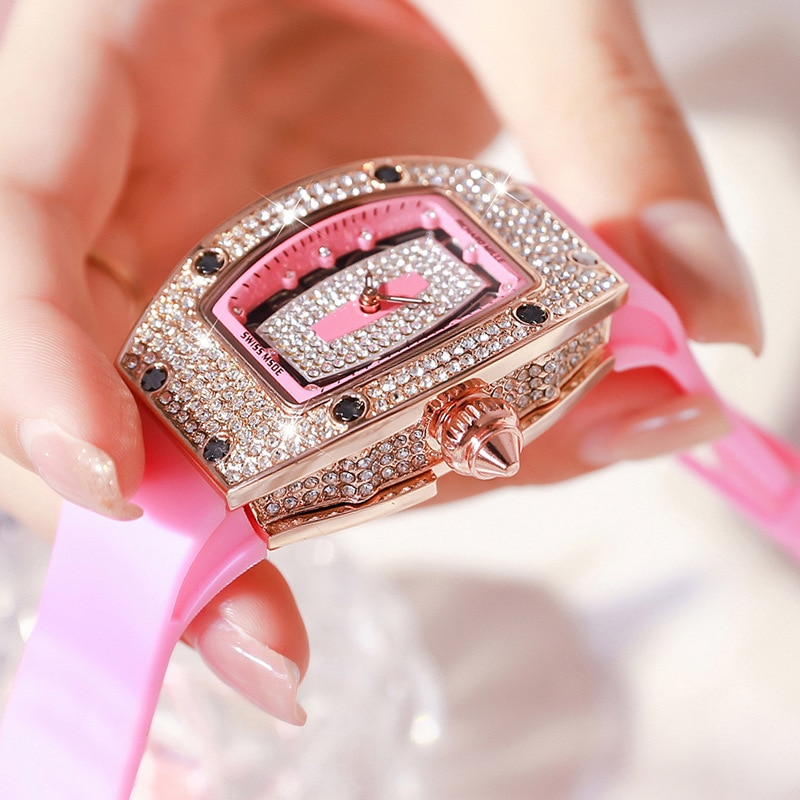 2021 new famous brand ladies diamond luxury wine barrel watch silicone ghost skull watch skull sports quartz hollow watch enlarge