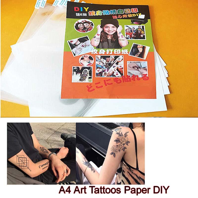 Бумага для татуировок А4, 10 комплектов, водонепроницаемая бумага для Временной Татуировки «сделай сам» с струйной лазерной печатью, принтер...
