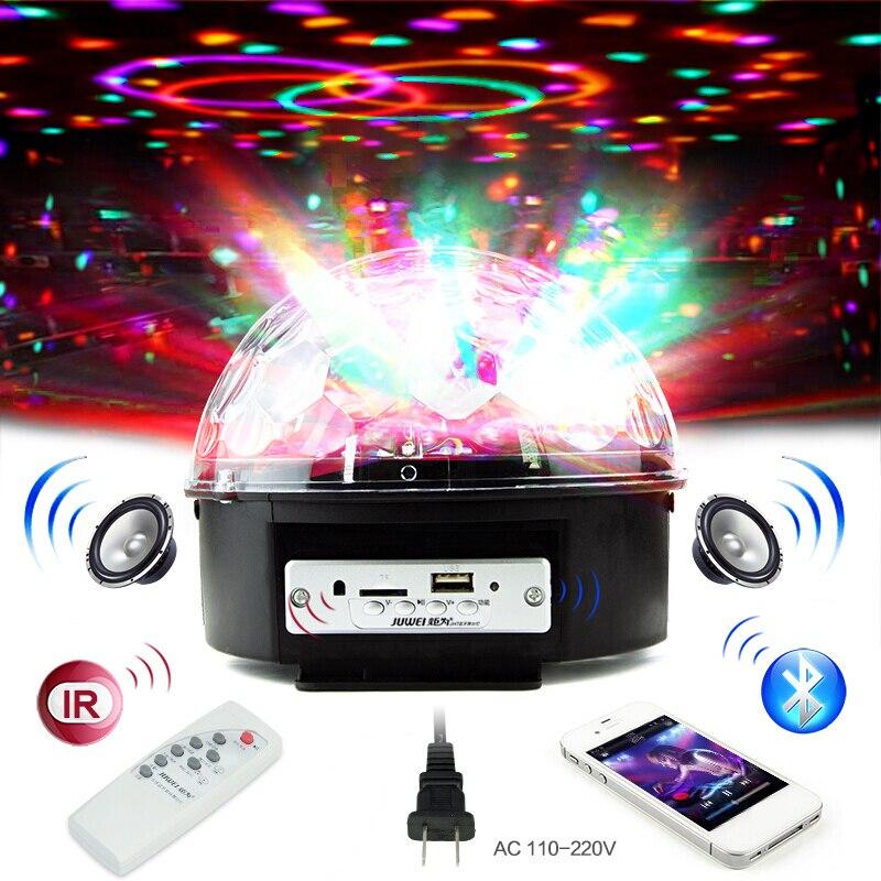 Controle Vioce MP3 Partido Bola De Discoteca DJ Luzes Bluetooth 6W RGB LED Stage Efeito de Luz Laser Luz Estroboscópica para natal Luz Xmas
