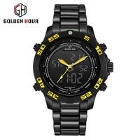 2021 goldenhour sport men quartz digital watch creative diving watches men waterproof alarm watch dual display clock