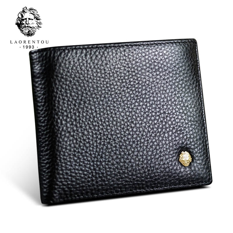 LAORENTOU Men Genuine Leather Wallet Male Soft Cowhide Coin Purse Standard Short Wallets for Man Wallets Card Holders contact s fashion genuine leather women wallet small standard wallets coin bag brand design lady purse card holders red brown