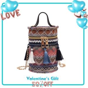 TangDe Straw Weaving Braided Woman Bucket Top Handle Mini fashion Crossbody Purse and Fashion Bag