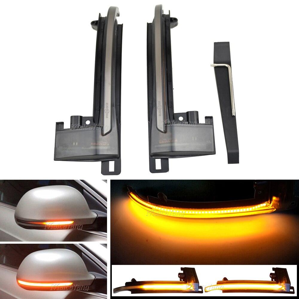 ل A4 A5 A6 A8 S4 S5 S6 S8 A3 8P 2008 2009 2010 LED ديناميكية الجانب الجناح مرآة الرؤية الخلفية المؤشر الوامض بدوره مصباح إشارة مصباح