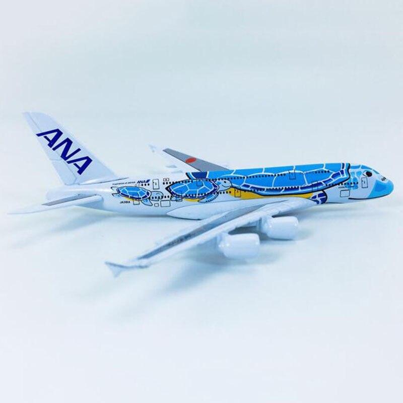 Aviones de aleación Lani ANA Airlines, tortuga azul A380 de Japón a escala 1/500 de 14CM, modelo de avión, juguete para regalo, espectáculos coleccionables