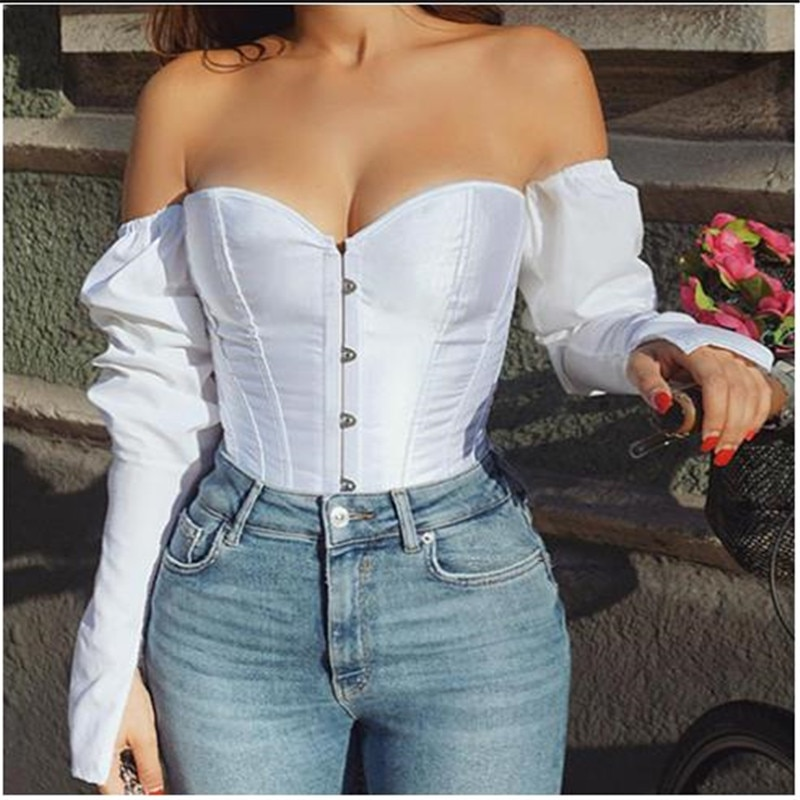 Women Sexy Off Shoulder Shirt Blouse Lady Girls Fashion Back Bandage Slim Bustier Female Leotard Cor